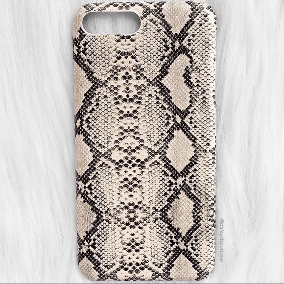 newest a7867 387b9 cream and black snakeskin iPhone 7 Plus phone case Boutique